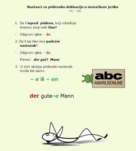 pridevska-deklinacija nemački -pravila