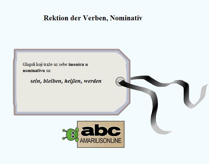 Rektion der Verben Nominativ
