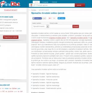 Njemačko hrvatski i hrvatsko njemačko online rječnik croDict 1